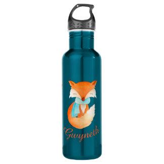 Red fox watercolor art named drinks bottle 24oz water bottle