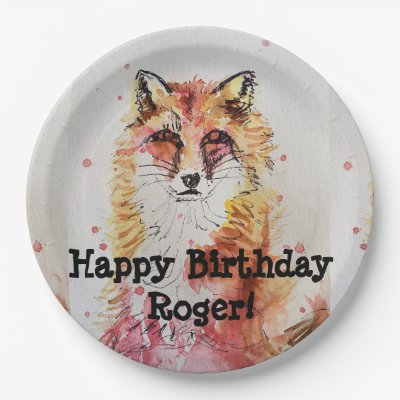Red Fox Watercolour Birthday Boy Party Paper Plate