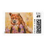 Red Fox Wildlife Watercolor Postage Stamps