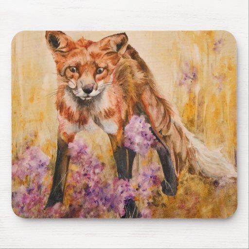 Red Fox Wildlife Watercolor Wildlife Mousepad