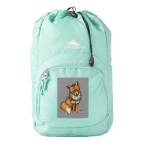 Red Fox with Grey background High Sierra Backpack