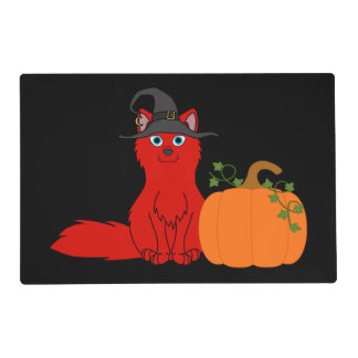 Red Fox with Halloween Pumpkin Laminated Placemat