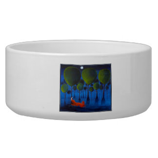 Red fox with trees in the Night Time. Bowl