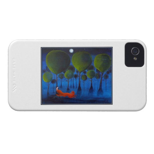 Red fox with trees in the Night Time. iPhone 4 Case