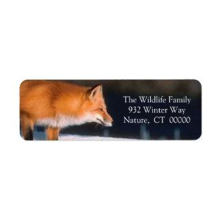 Red Fox Xmas Card Return Address Label Sticker