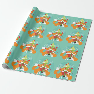 Red Foxes and Holiday Tree Wrapping Paper