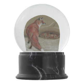 red foxes snow globe
