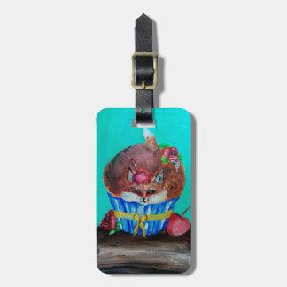 Red Foxy Rose Cupcake Bag Tag