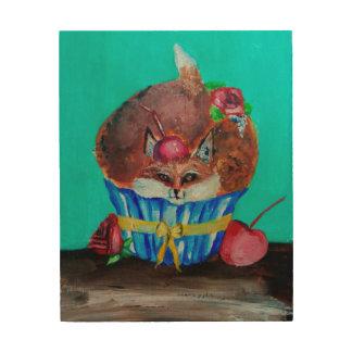 Red Foxy Rose Cupcake Wood Wall Art