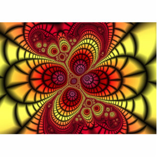 Red Fractal Background Statuette