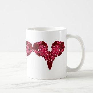 Red Fractal Lace Heart 3 Mug
