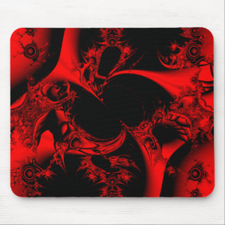 Red Fractal Maze Mouse Pad