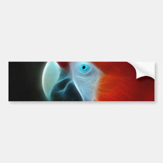 Red Fractal Parrot blue eyes Bumper Sticker