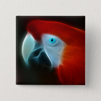 Red Fractal Parrot blue eyes Button