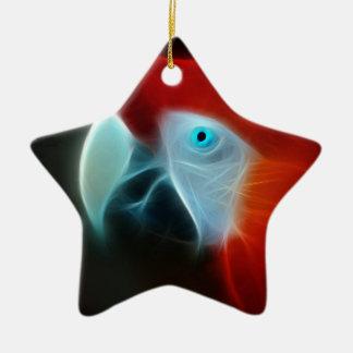 Red Fractal Parrot blue eyes Ceramic Ornament
