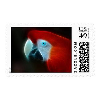 Red Fractal Parrot blue eyes Postage