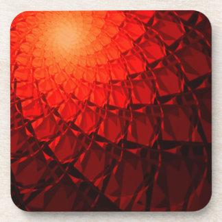 Red Fractal Pattern Coasters