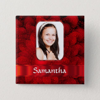 Red fractal photo border button