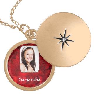 Red fractal photo border locket necklace