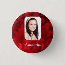 Red fractal photo border pinback button