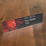 RED FRACTAL ROSE IN BLACK,Abstract Swirls Desk Name Plate