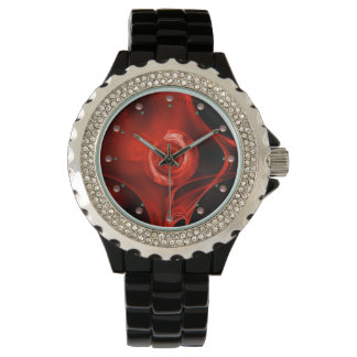 RED FRACTAL ROSE WRIST WATCHES