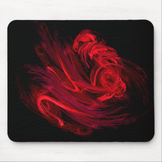 Red Fractal Swish Mouse Pad