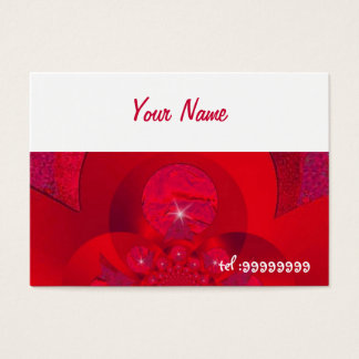 red fractal with sparkle business card