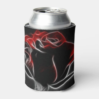 Red Fractalius Rose Can Cooler
