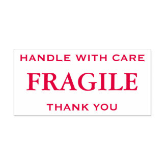Red Fragile, Handle with Care, Thank You Self-inking Stamp