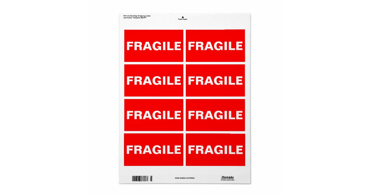 Red Fragile Shipping Label Zazzle