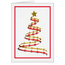Red Framed Abstract Gold and Red Christmas Tree Card