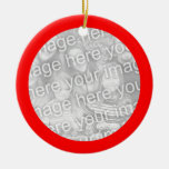 Red Framed Round Ornament