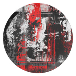red franz kline inspired abstract expressionism melamine plate