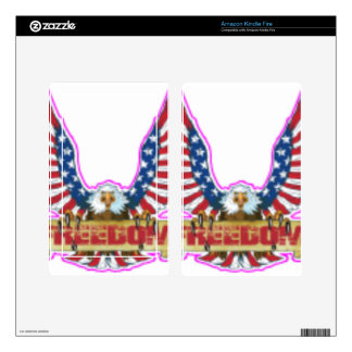 Red Freedom Eagle Banner Skin For Kindle Fire