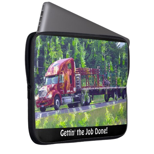 Red Freight Truck Driver's Art Laptop Sleeve