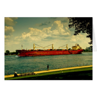 Red Freighter Illustration Card