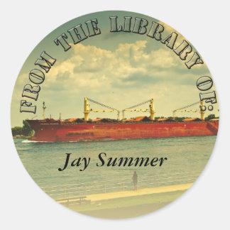Red Freighter Illustration Custom Library Sticker