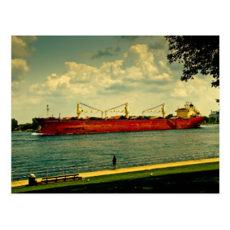 Red Freighter Illustration Post Card