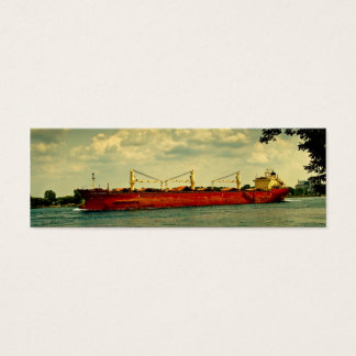 Red Freighter Illustration Tiny Bookmarks Mini Business Card
