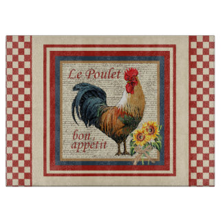 Red French Country Rooster Le Poulet Cutting Board