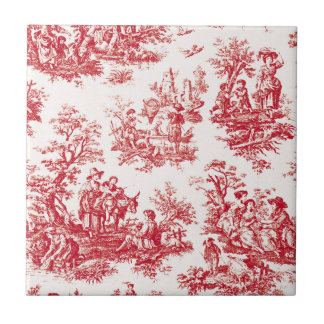 Red French Country Toile Tile