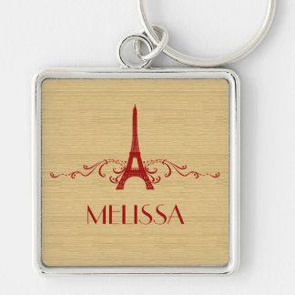 Red French Flourish Premium Keychain