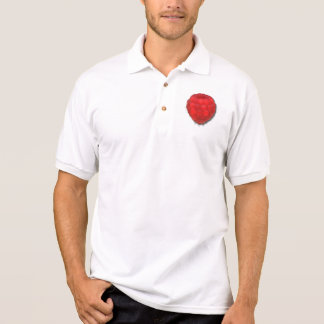 Red Fresh Raspberry With Morning Dew Drops Drawing Polo Shirt