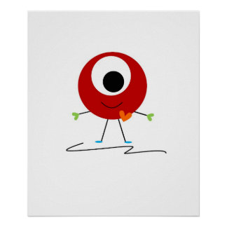 Red Friendly Monster Poster