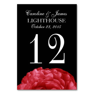 Red Frilly Rose Custom Wedding Table Number 12 Table Card