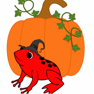 Red Frog Witch with Halloween Pumpkin Photo Sculpture Button