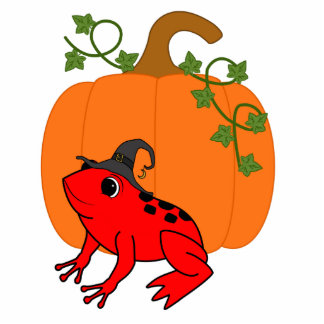 Red Frog Witch with Halloween Pumpkin Photo Sculpture Keychain