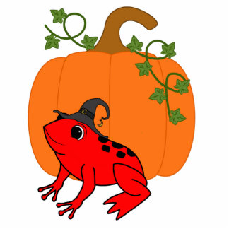 Red Frog Witch with Halloween Pumpkin Photo Sculpture Magnet