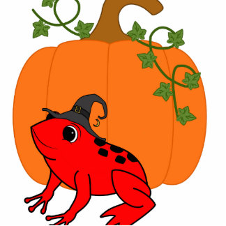 Red Frog Witch with Halloween Pumpkin Photo Sculpture Ornament